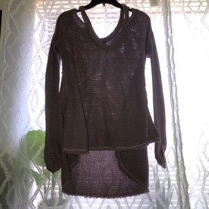 "Light Purple, off shoulder ""waffle"" sweater."